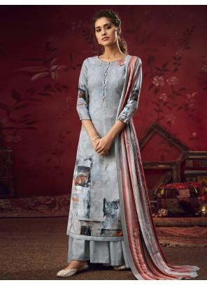 Salwar Suit Printed Pashmina in Green