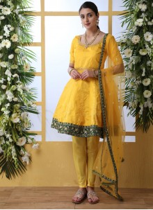 Salwar Suit Thread Work Art Silk in Mustard and Yellow