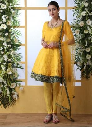 Salwar Suit Thread Work Art Silk in Mustard and Yellow
