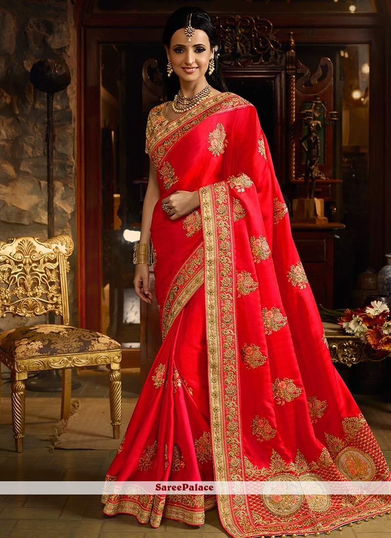 5d8cce859378d Buy Sanaya Irani Banarasi Silk Resham Work Hot Pink Designer Traditional  Saree Online