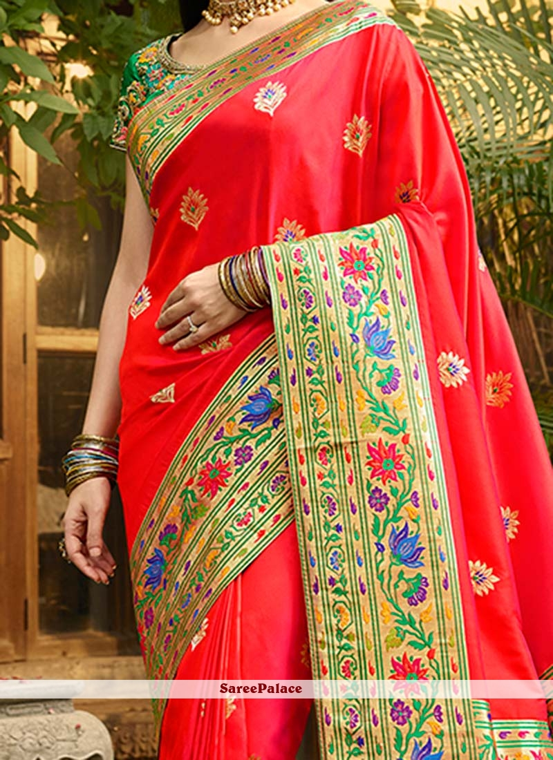 94acbbeea82e6 Buy Sanaya Irani Red Banarasi Silk Designer Traditional Saree Online