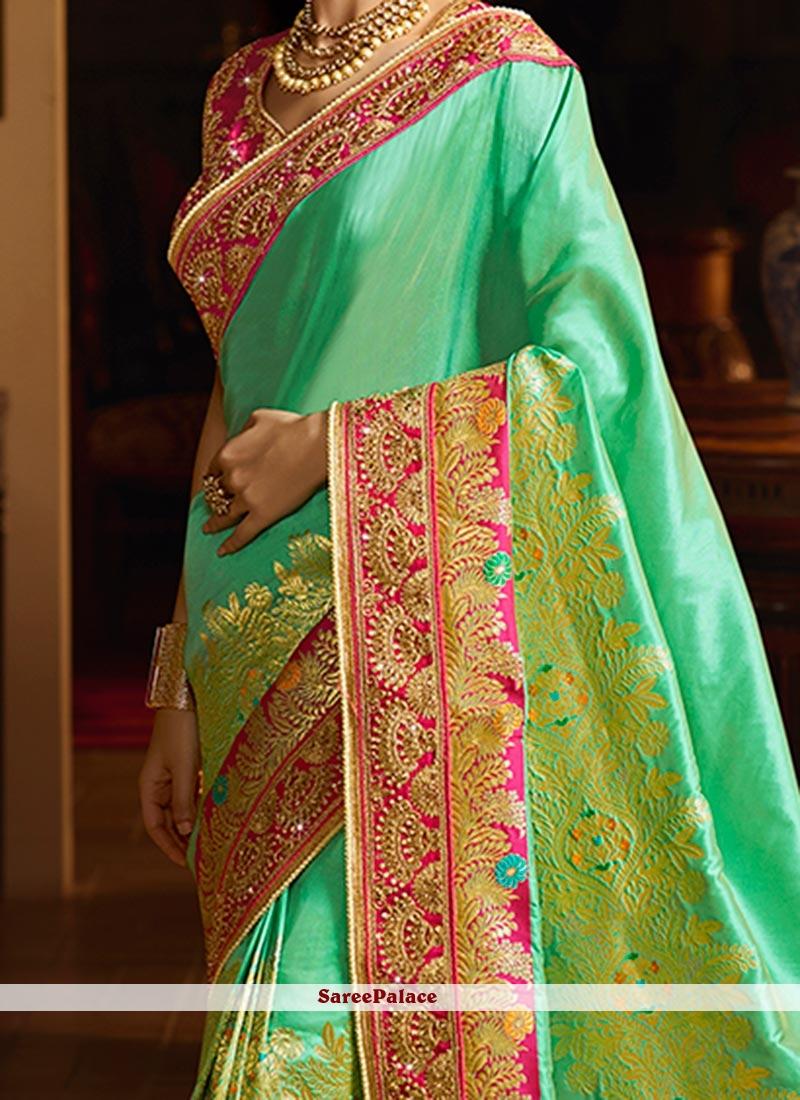 fa7d0001e8588 Buy Sanaya Irani Sea Green Weaving Work Designer Traditional Saree ...