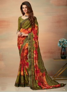 Saree Abstract Print Faux Crepe in Multi Colour