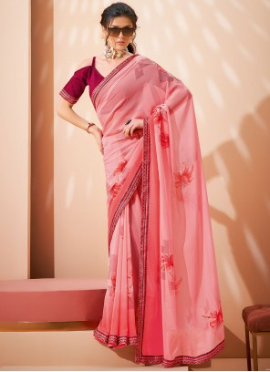 Saree Abstract Print Faux Georgette in Pink