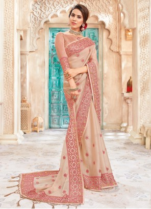 Saree Embroidered Art Silk in Peach