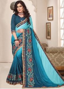 Saree Embroidered Art Silk in Turquoise