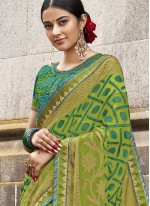 Saree Embroidered Brasso in Green