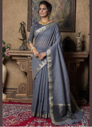Saree Fancy Linen in Grey