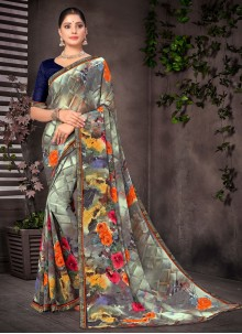 Multi Colour Abstract Printed Georgette Saree For Casual