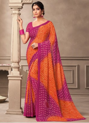 Multi Colour Abstract Print Saree For Casual