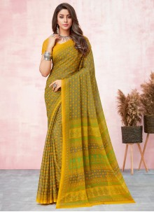 Yellow Abstract Print Saree For Casual