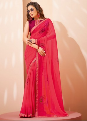 Pink Faux Georgette Printed Saree For Casual