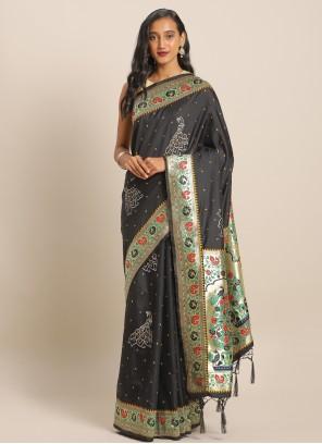 Green Banarasi Silk Saree For Ceremonial