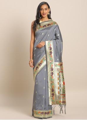 Blue Banarasi Silk Saree For Ceremonial