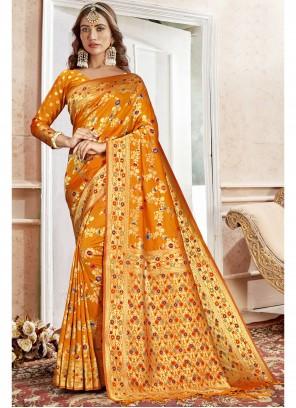 Orange Saree For Engagement