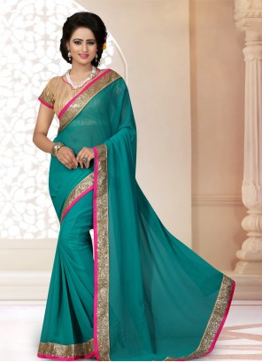 Green Georgette Lace Saree For Party