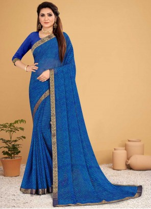 Saree Lace Faux Chiffon in Blue