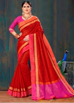 Saree Lace Jute Silk in Red