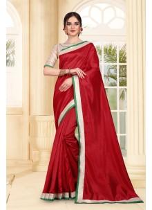 Saree Patch Border Art Silk in Maroon