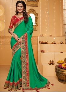 Saree Patch Border Fancy Fabric in Green