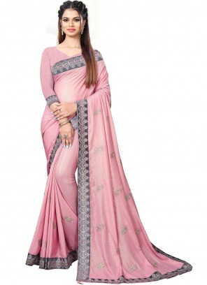 Saree Patch Border Faux Chiffon in Pink