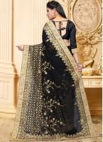 Saree Patch Border Faux Georgette in Black