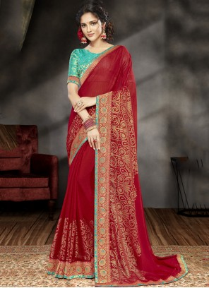Saree Patch Border Faux Georgette in Red