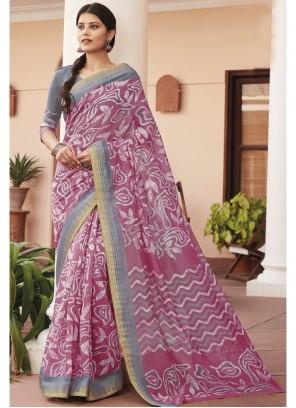 Saree Print Cotton Silk in Multi Colour