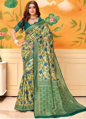 Saree Print Silk in Green