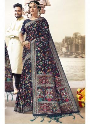 Saree Printed Art Silk in Navy Blue