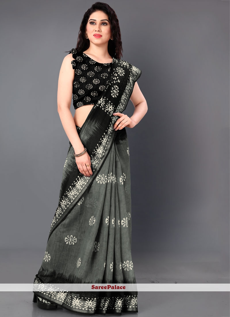 Saree Printed Cotton in Black and Grey