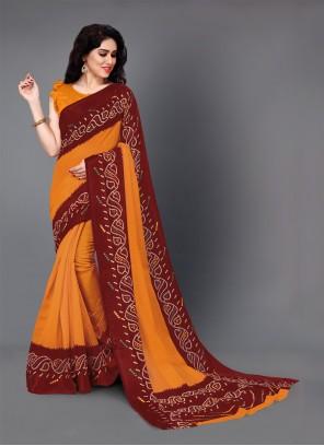 Saree Printed Cotton in Maroon and Orange