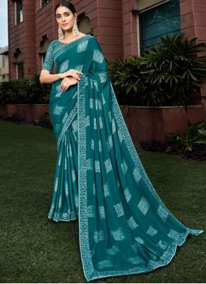 Saree Printed Silk in Teal
