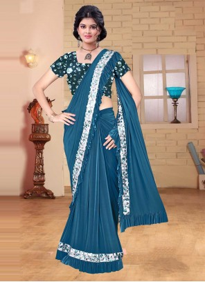 Saree Sequins Lycra in Blue