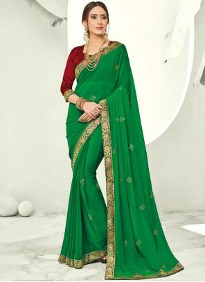 Saree Stone Faux Chiffon in Green