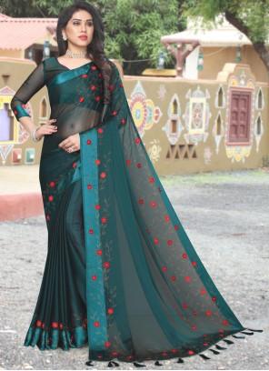 Saree Stone Work Satin in Green