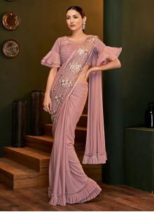 Saree Thread Work Lycra in Pink