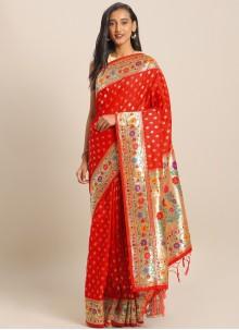 Saree Weaving Art Banarasi Silk in Red