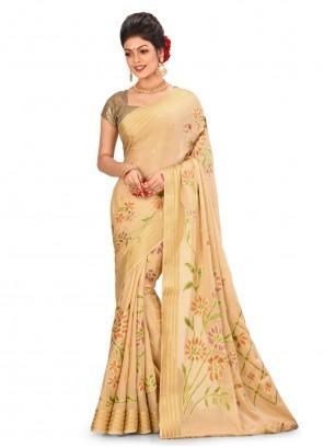 Saree Weaving Banarasi Silk in Beige