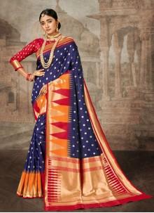 Saree Weaving Banarasi Silk in Navy Blue