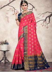 Saree Weaving Linen in Rose Pink