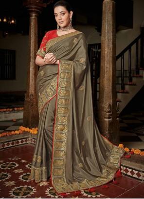 Saree Weaving Silk in Cofee Color
