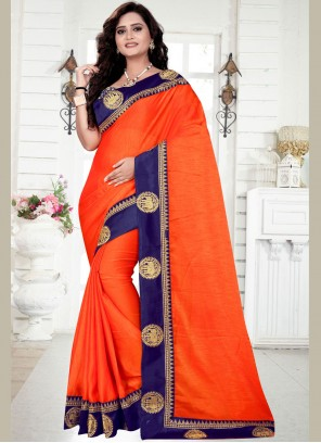 Saree Zari Georgette in Orange