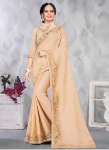 Satin Beige Sequins Designer Saree