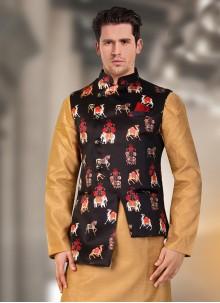 Satin Black Nehru Jackets