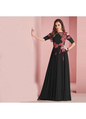 Satin Black Plain Salwar Suit
