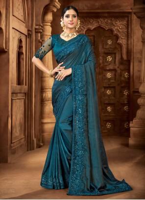 Satin Rama Blue Designer Saree