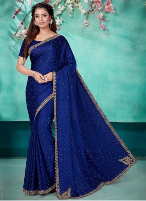 Satin Blue Embroidered Classic Saree