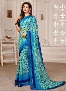 Satin Blue Printed Saree