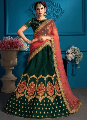 Green Satin Bridal Lehenga Choli